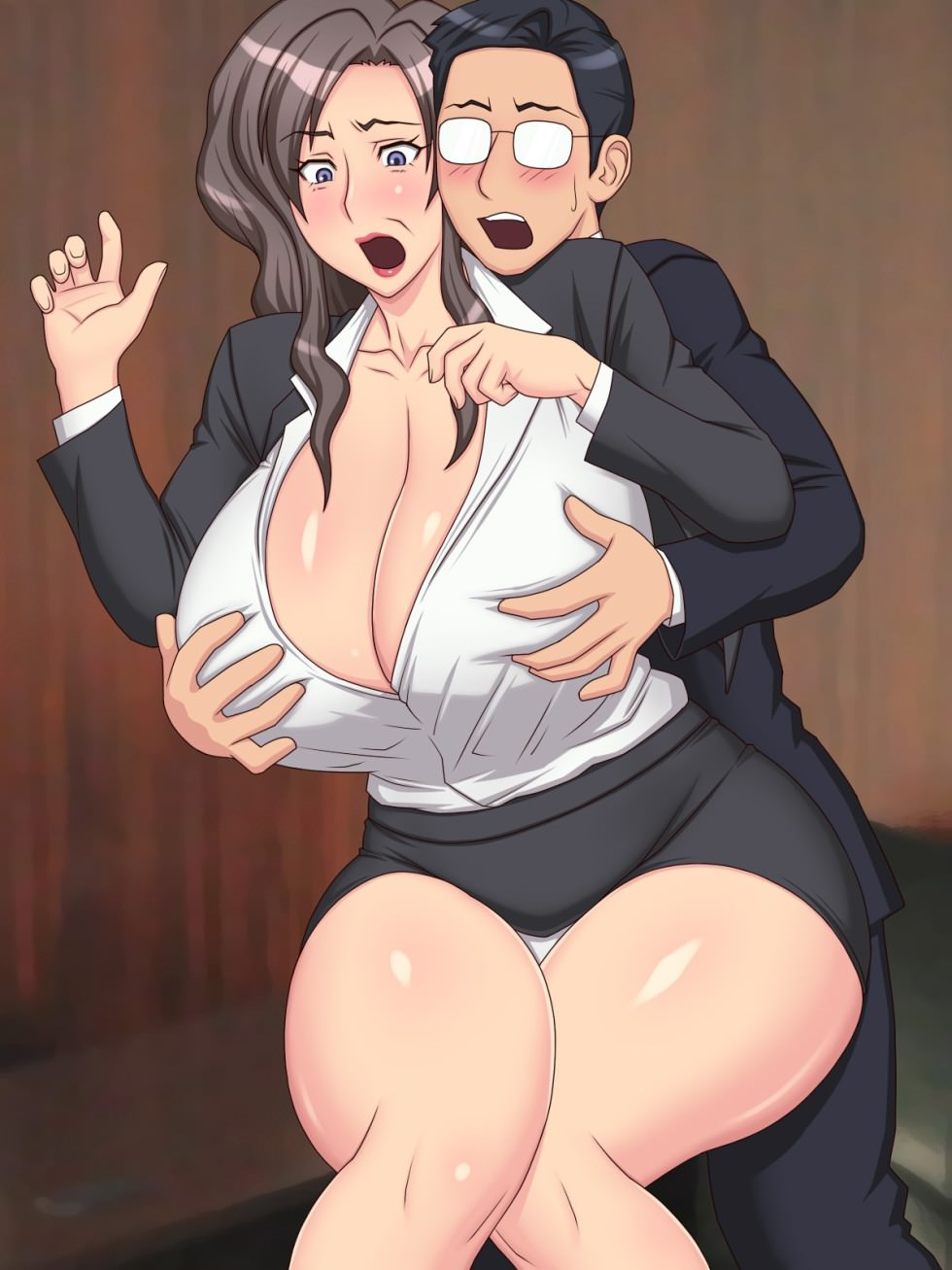 Animated Big Cock busty business woman fucking big cock - hentai, porn comics