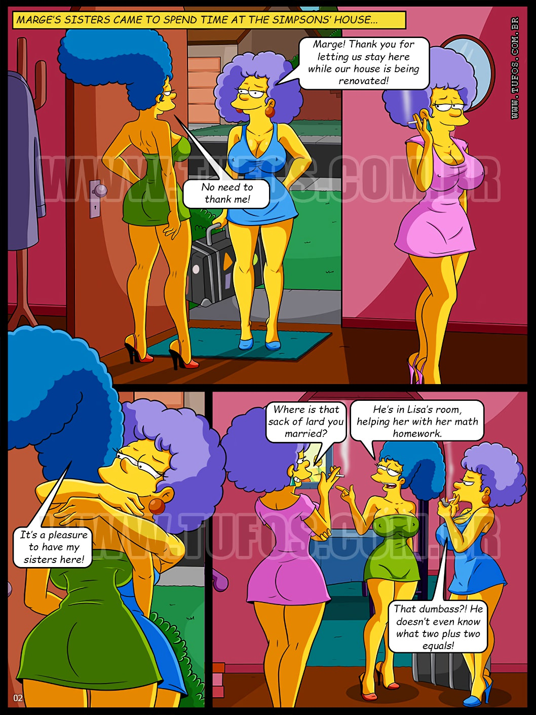 3D Porno Simpson in the bath with the aunts - simpsons online at world-hentai